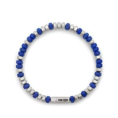 Hex Bead Bracelet in Blue, 8mm
