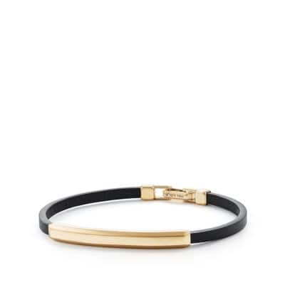 Streamline Leather Bar ID Bracelet with 18K Gold