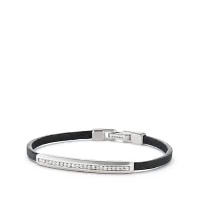 Pavé Leather ID Bracelet with Diamonds