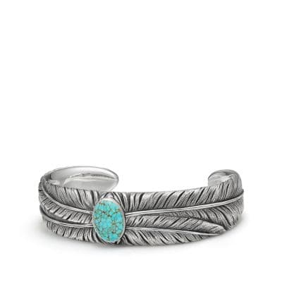 Southwest Wide Feather Cuff Bracelet with Turquoise