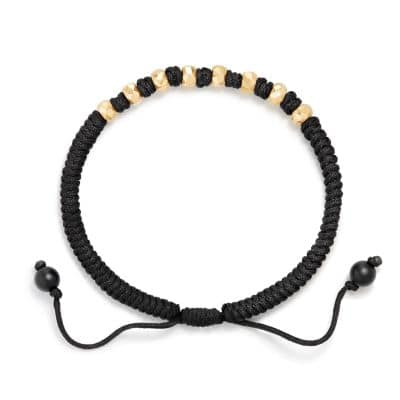 DY Fortune Woven Bracelet in Black with Black Onyx in 18K Gold