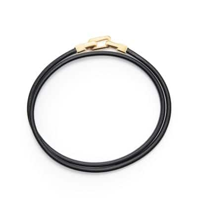 Streamline Double-Wrap Leather Bracelet with 18K Gold