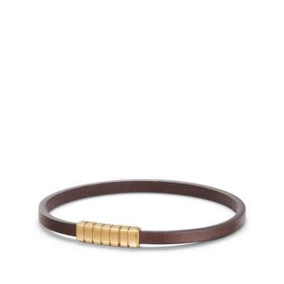 Southwest Narrow Brown Leather Bracelet with 18K Gold
