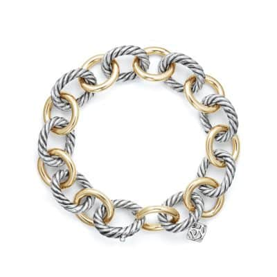 Large Oval Link Bracelet with 18K Gold