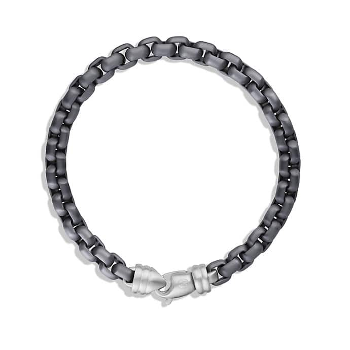 Extra-Large Box Chain Bracelet with Gray Titanium, 7mm