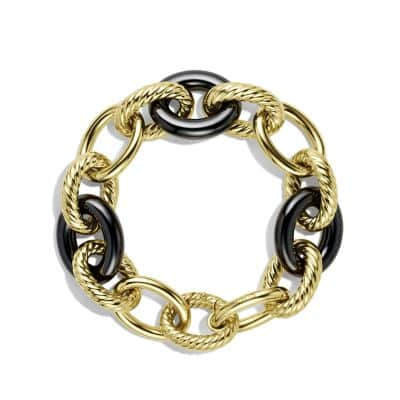 Extra-Large Oval Link Bracelet with Black Cermaic in 18K Gold