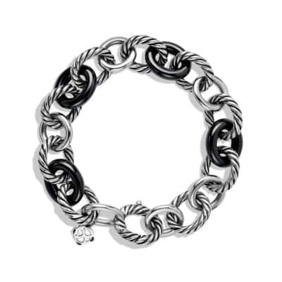 Large Oval Link Bracelet with Black Ceramic