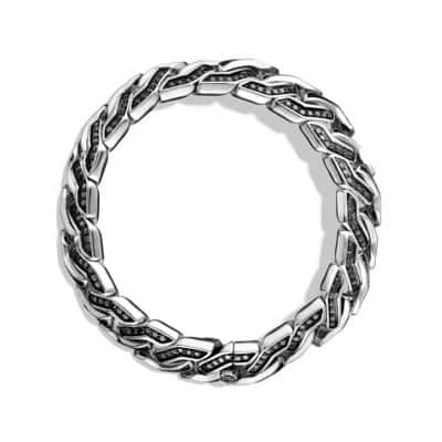 Curb Chain Bracelet with Black Diamonds