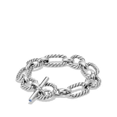 Cushion Link Bracelet with Blue Sapphires