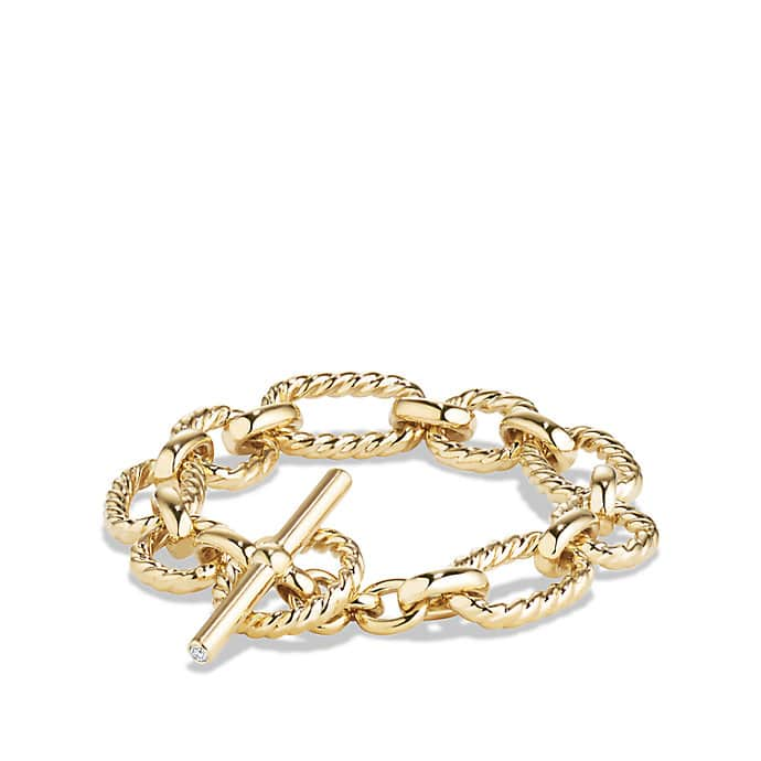Cushion Link Bracelet with Diamonds in 18K Gold