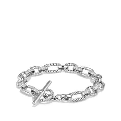 Cushion Link Bracelet with Diamonds