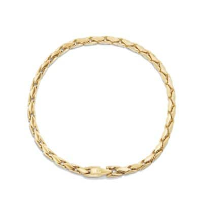 Small Fluted Chain Bracelet in 18K Gold, 3.8mm