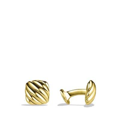 Cable Cushion Cuff Links in Gold