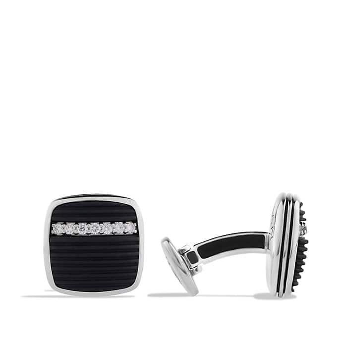 Royal Cord Cufflinks with Black Onyx and Diamonds
