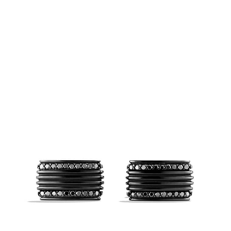 Royal Cord Cufflinks with Black Diamonds