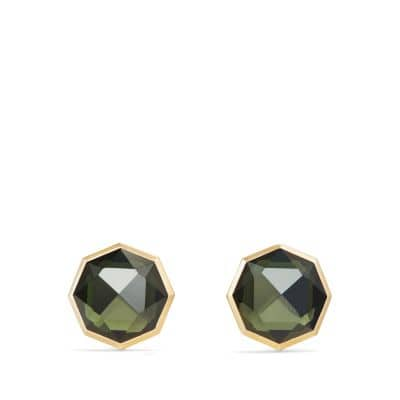 DY Fortune Faceted Cufflinks with Moldavite in 18K Gold