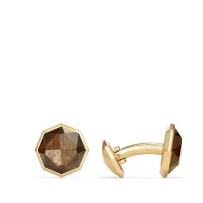 DY Fortune Faceted Cufflinks with Golden Sheen Sapphire in 18K Gold