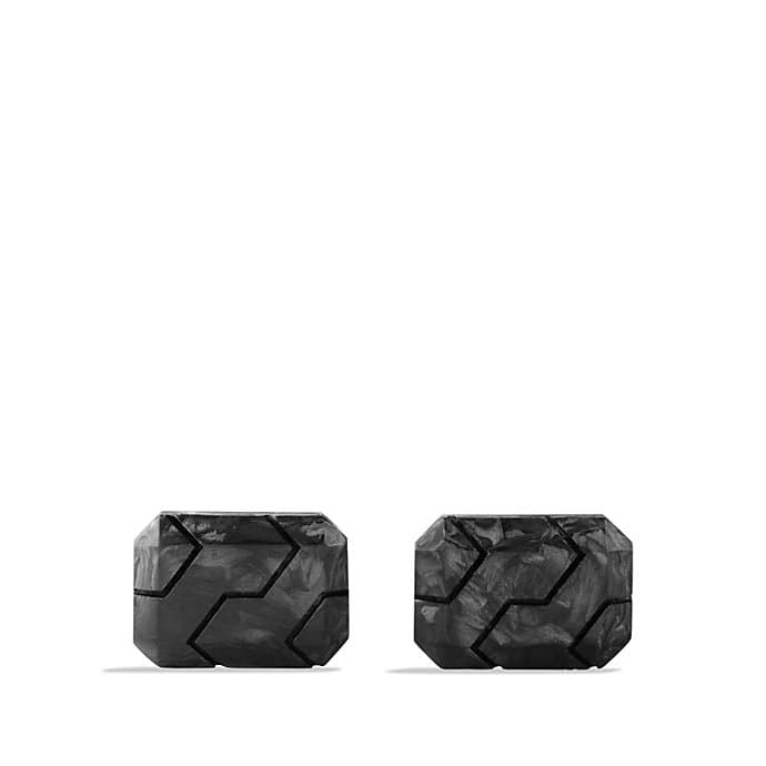 Forged Carbon Cufflinks in Silver
