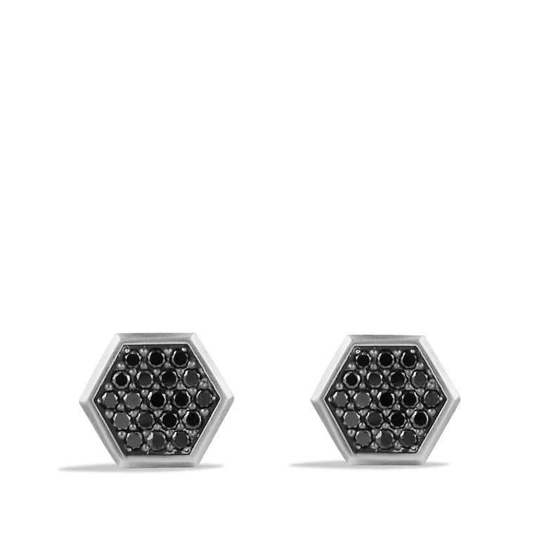Streamline Cufflinks with Black Diamonds