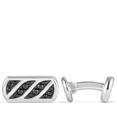 Graphic Cable Cufflinks with Black Diamonds