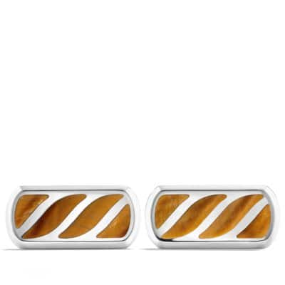 Graphic Cable Cufflinks with Tigers Eye