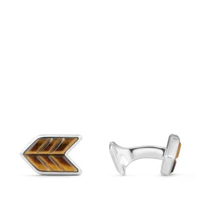 Chevron Stone Cufflinks with Tigers Eye, 16mm