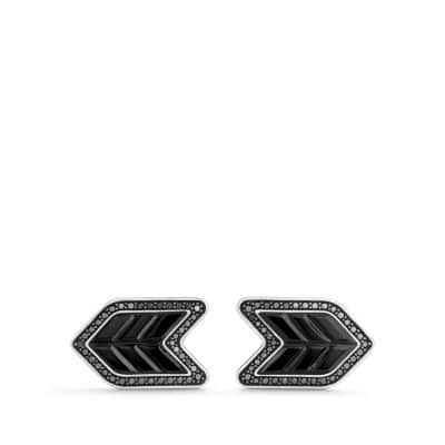 Chevron Stone Cufflinks with Black Onyx and Black Diamonds, 16mm