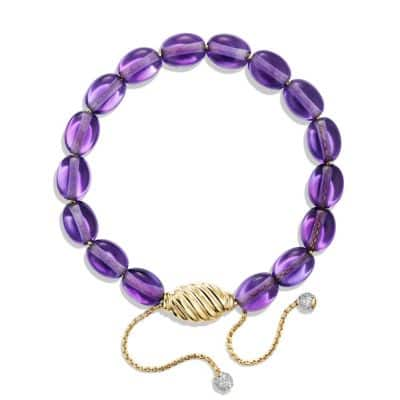 Spiritual Bead Bracelet with Amethyst and Diamonds in 18K Gold