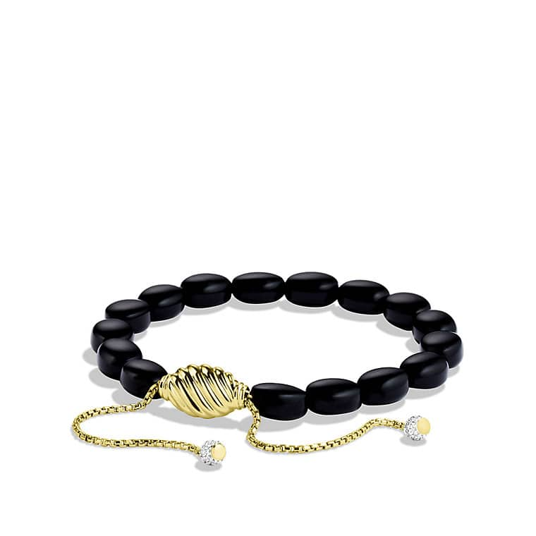 Signature Spiritual Beads Bracelet with Black Onyx and Diamonds in Gold