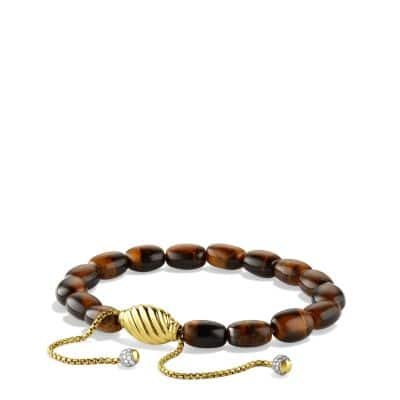 Signature Spiritual Beads Bracelet with Tiger's Eye and Diamonds in Gold