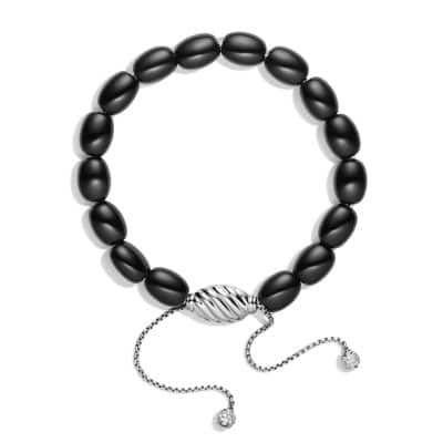 Spiritual Bead Bracelet with Black Onyx and Diamonds in 18K White Gold