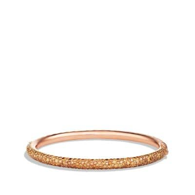 Limited Edition Pavé Cable Bangle with Cognac Diamonds in Rose Gold