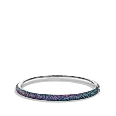 Limited Edition Pavé Cable Bangle with Color Change Garnets in White Gold