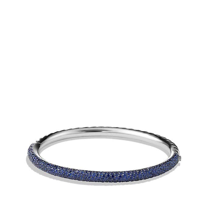 Limited Edition Pavé Cable Bangle with Sapphires in White Gold