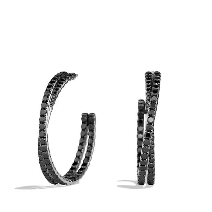 Crossover Hoop Earrings with Black Diamonds in White Gold