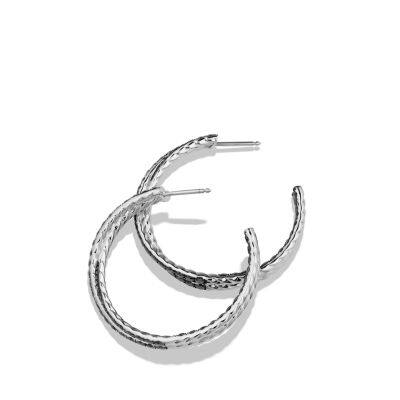 Crossover Hoop Earrings with Black Diamonds in 18K White Gold