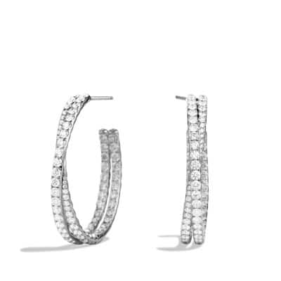 Crossover Hoop Earrings with Diamonds in 18K White Gold