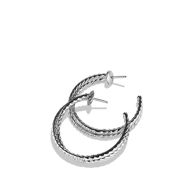 Crossover Hoop Earrings with Diamonds in White Gold