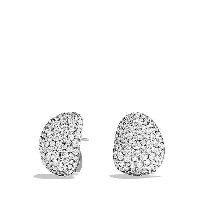 Pavé Earrings with Diamonds in White Gold