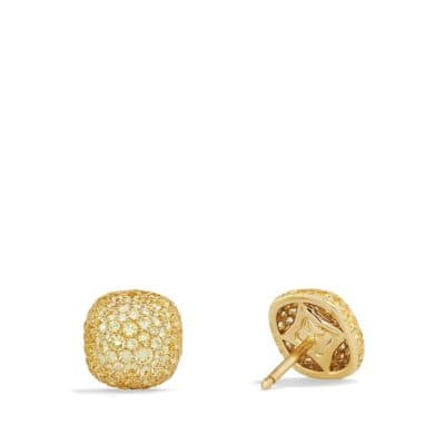Pavé Earrings with Yellow Sapphire in 18K Gold
