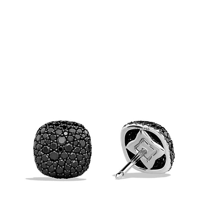 Pavé Earrings with Black Diamonds in White Gold