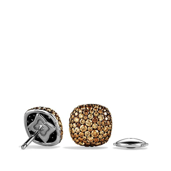 Pavé Earrings with Cognac Diamonds in White Gold