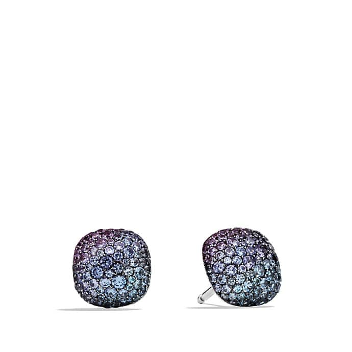 Pavé Earrings with Color Change Garnets in White Gold