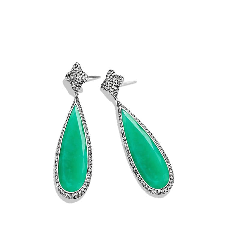 Earrings with Chrysoprase and Gray Diamonds in 18K White Gold