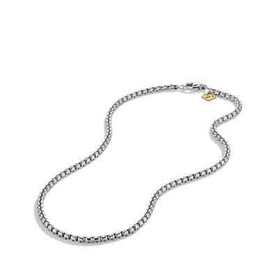 Medium Box Chain Necklace with 14K Gold, 3.6mm