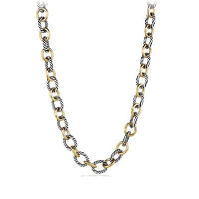 Oval Large Link Necklace with 18K Gold