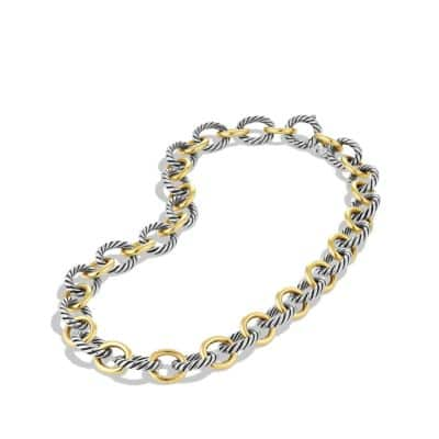 Large Oval Link Necklace with 18K Gold