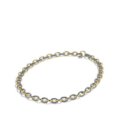 Medium Oval Link Necklace with 18K Gold