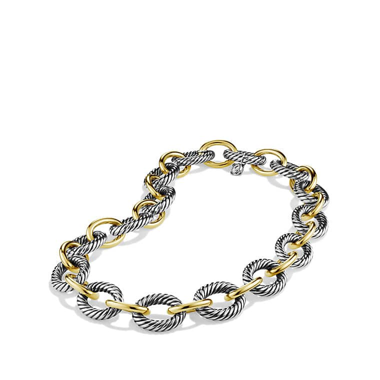 extralarge oval link necklace with 18k gold