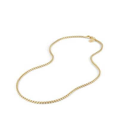Small Box Chain Necklace in 18K Gold, 2.7mm